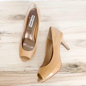 Steve Madden Shoes - Steve Madden Pyper Nude Patent Peep Toe Pump.